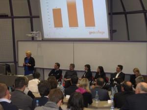 Dr. Marina Letonja, predavateljica na Fakulteti za podjetništvo GEA College, je predstavila izsledke o prenosu inovativnosti v podjetjih